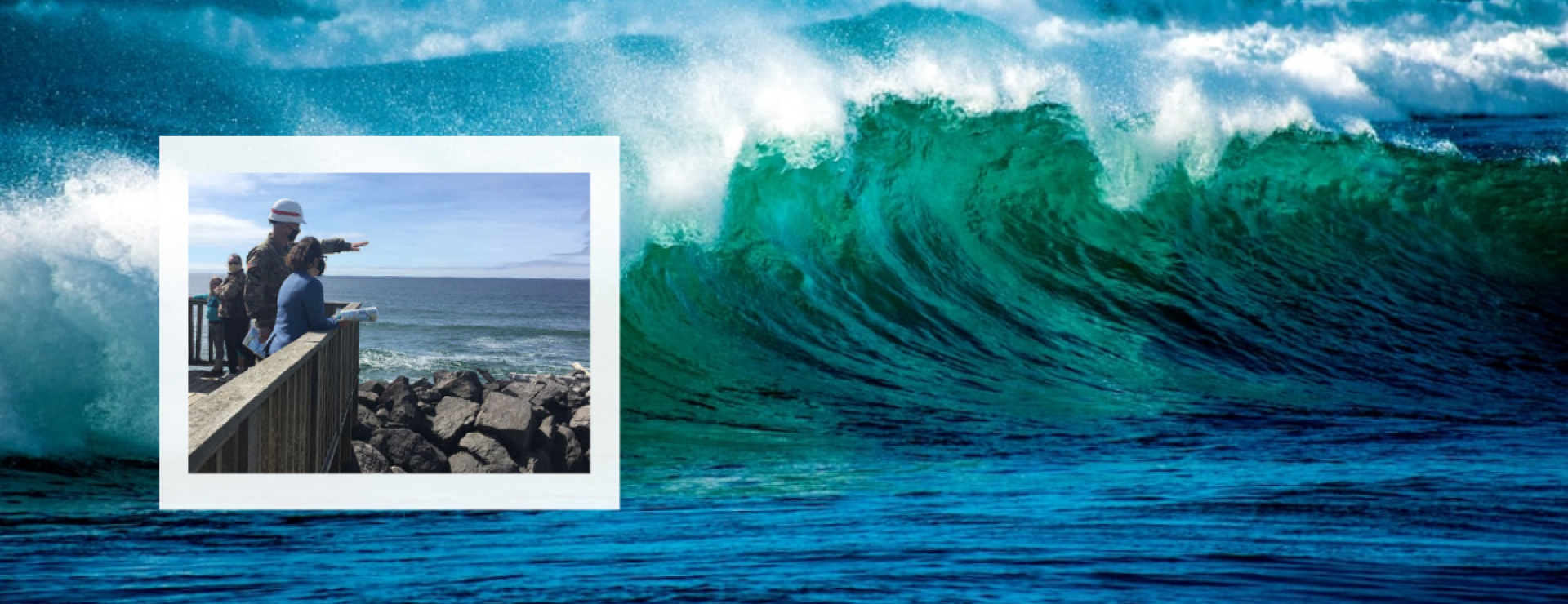 Photo of wave with inset photo of Congresswoman Suzanne Bonamici at South Jetty on North Oregon coast